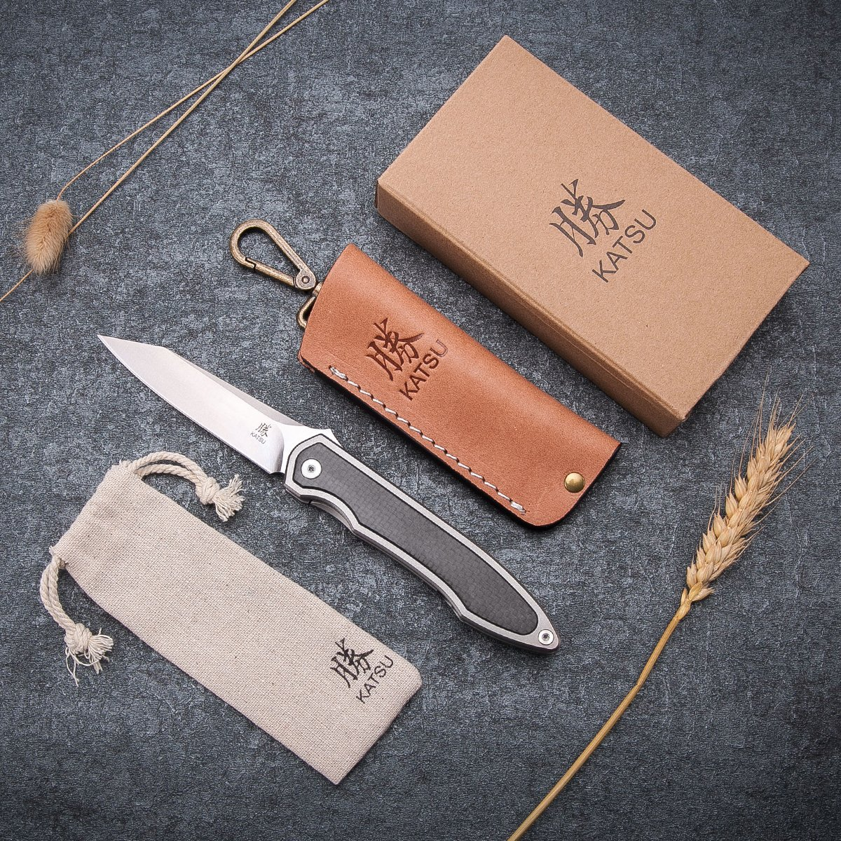 KATSU Camping Pocket Folding Japanese Knife, Titanium & Carbon Fiber Handle, Frame Lock, Stonewashed Blade and Titanium Clip, Leather Sheath by KATSU (Image #5)