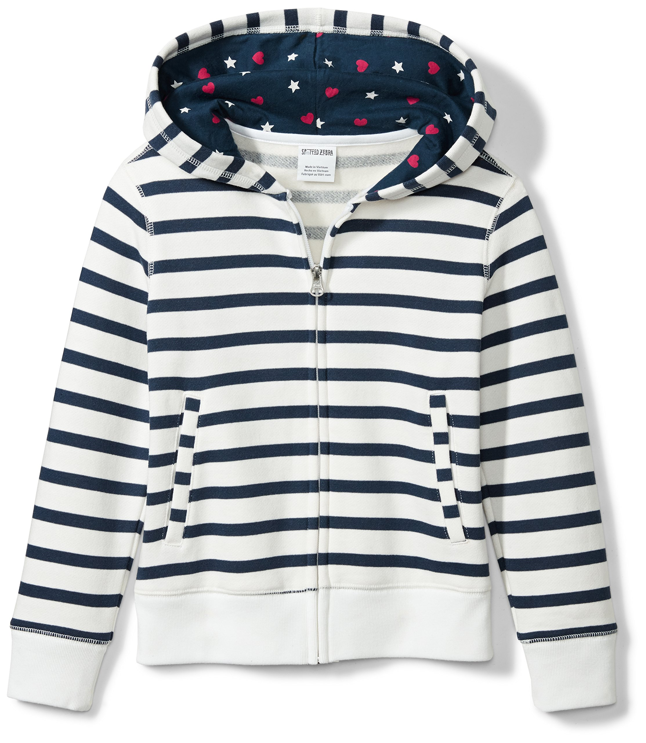 Spotted Zebra Girls' Big Fleece Zip-up Hoodies, Navy/White Stripe, Large (10)