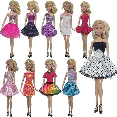 5 ensemble de vêtements de poupée mode habiller pour poupée barbie - style aléatoire