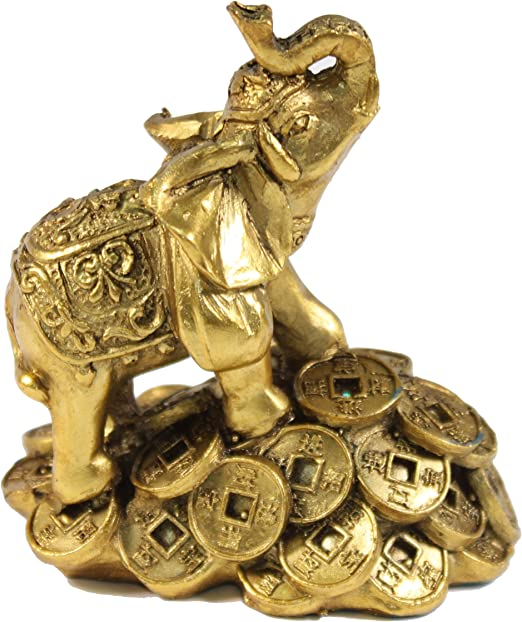 Amazon Com Feng Shui 3 Money Elephant Figurine Wealth Lucky Figurine Gift Home Decor Home Kitchen