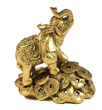 feng shui 3 money elephant figurine wealth lucky figurine gift home decor - Amazon Home Decor
