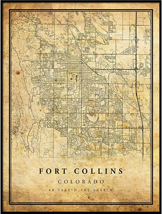 Amazon Com Fort Collins Map Vintage Style Poster Print Old City Artwork Prints Antique Style Home Decor Colorado Wall Art Gift Map Reception 20x30 Posters Prints