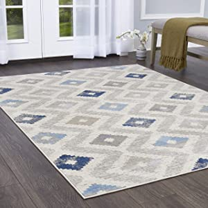 "Home Dynamix Melrose Maritza Area Rug, 6'6"" x 9'6"" Rectangle, Blue/Ivory"