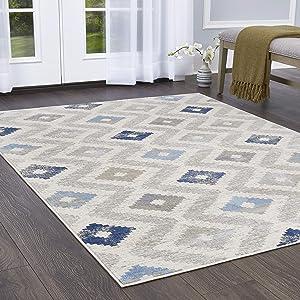 "Home Dynamix Melrose Maritza Area Rug, 7'10"" x 10'2"" Rectangle, Blue/Ivory"