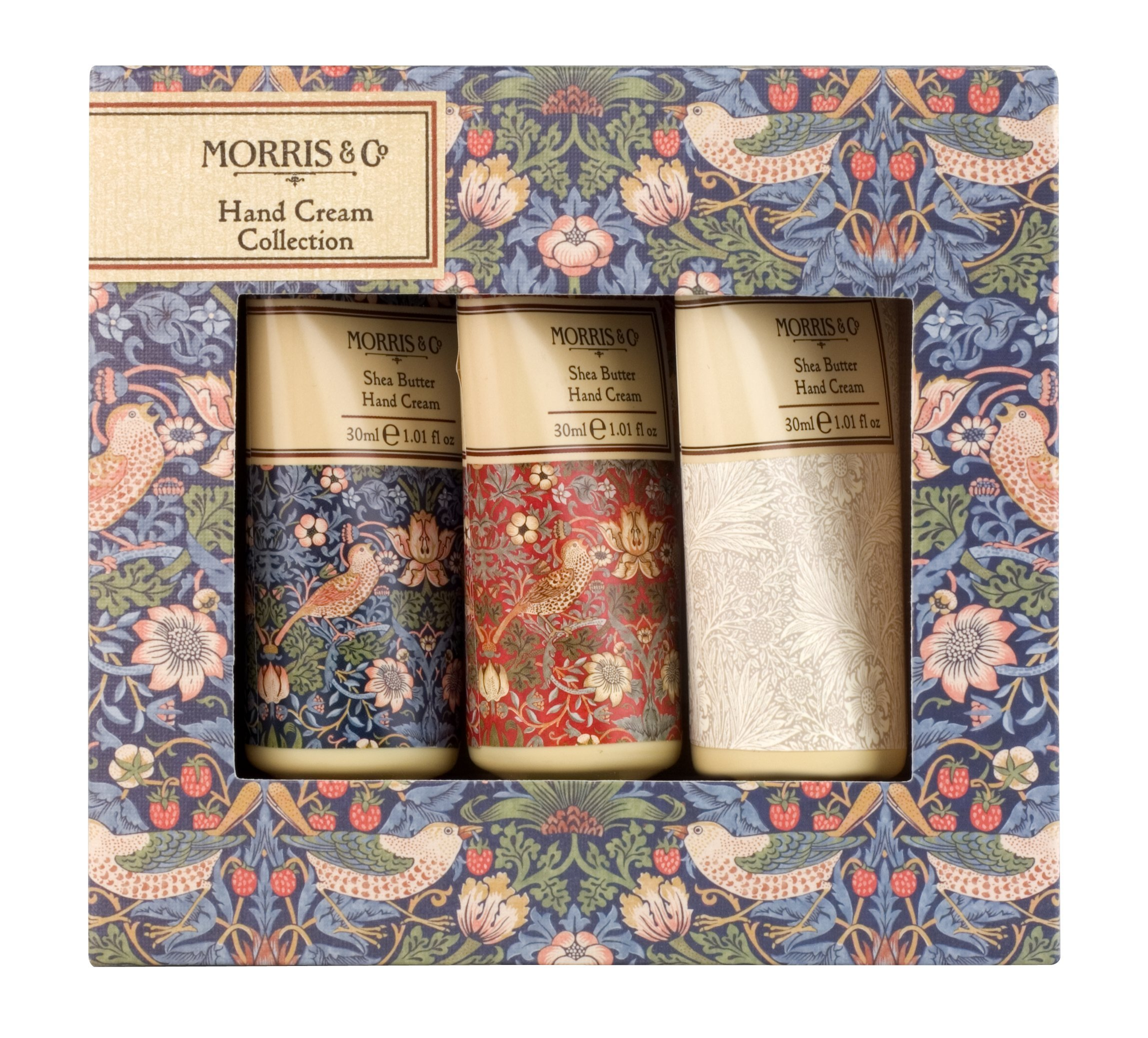 Morris & Co. Beauty Strawberry Thief Shea Butter Hand Cream Collection Gift Set, 3 x 30 ml