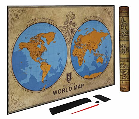 Amazon.com: Scratch Off World Map Poster - Detailed Eastern and ...