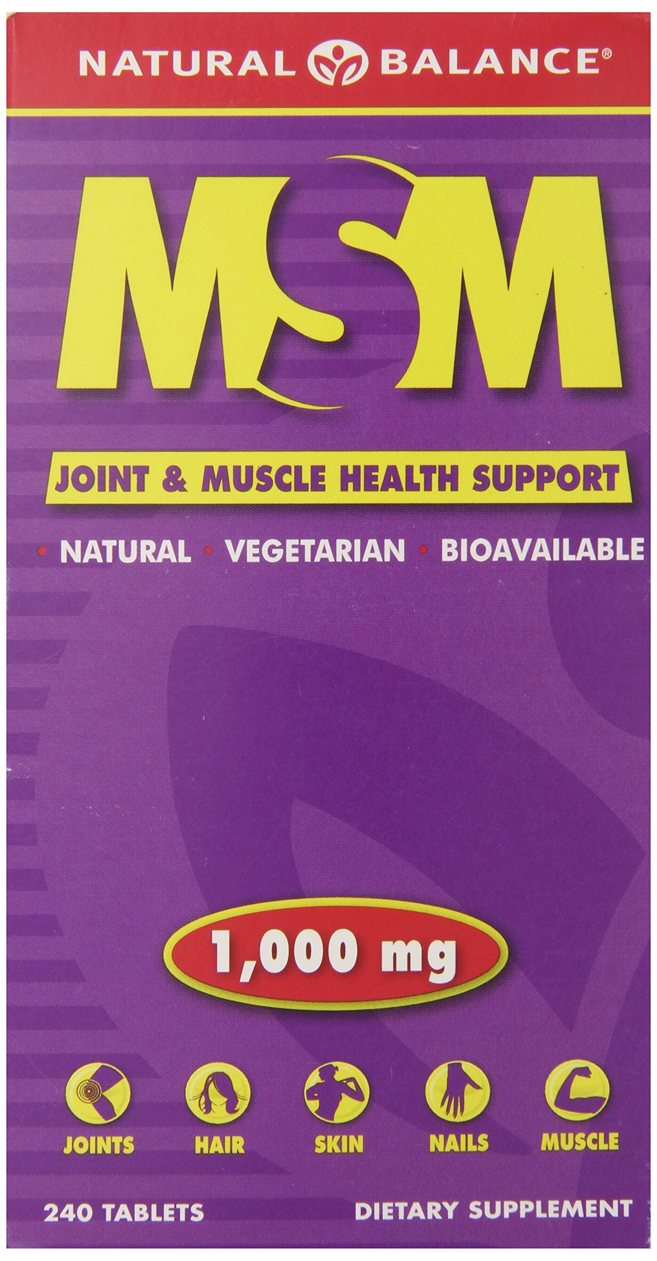 Natural Balance MSM Tablets, 1000 Mg, 240-Count (Pack of 6)