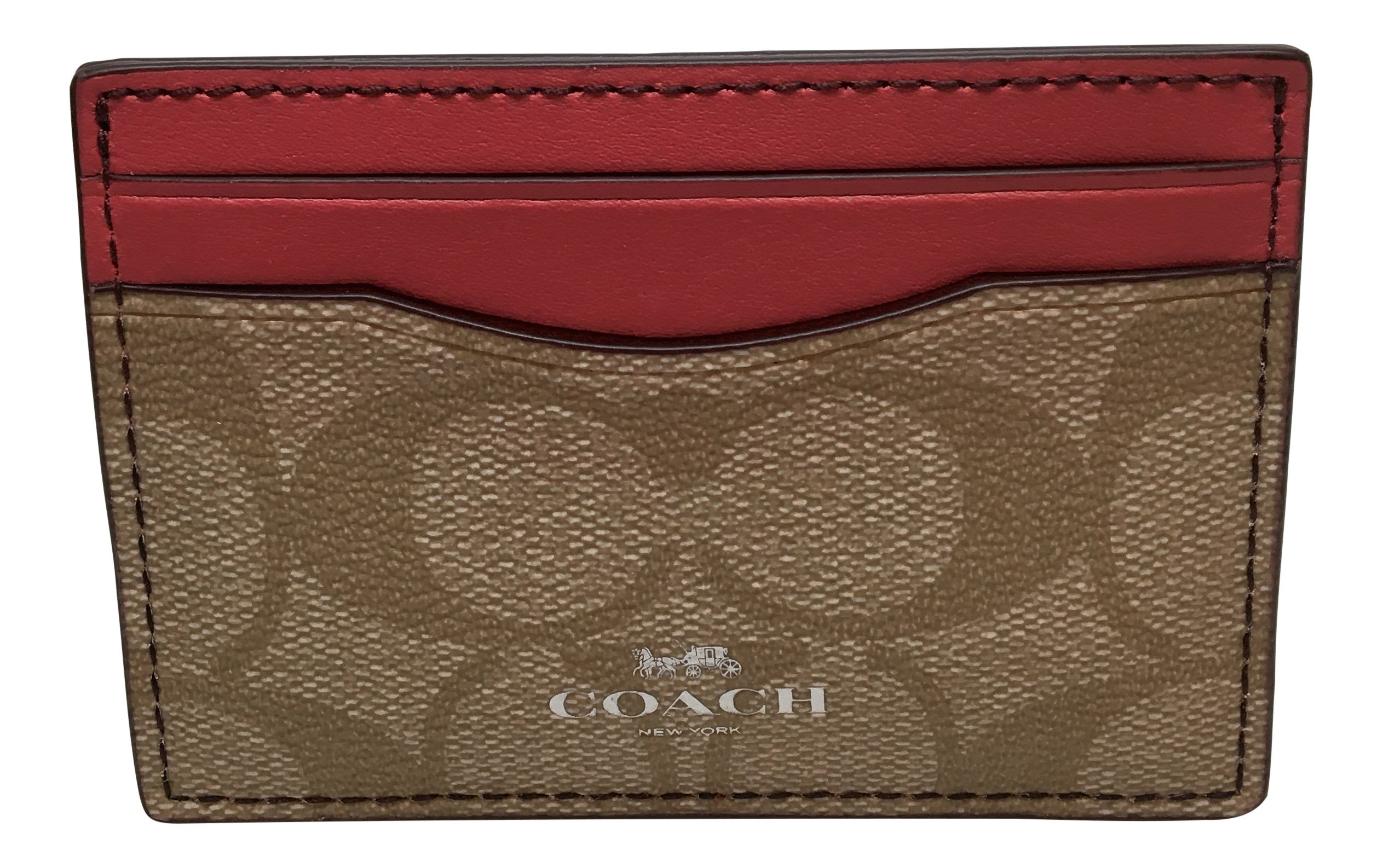 Coach Signature PVC Card Case Light Khaki Strawberry 63279