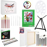 U.S Art Supply 60-Piece Deluxe Acrylic Painting Set with Aluminum Tabletop Easel, 24 Acrylic Colors, Acrylic Painting Pad, Stretched & Canvas Panels, Brushes & Palette Knives
