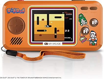 My Arcade Pocket Player Handheld Game Console 3 Built In Games Dig Dug 1 2 Tower Of Druaga Collectible Full Color Display Speaker Volume Controls Headphone Jack Battery Or Micro