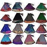 Women's Short Length Plus Size Sari Art Silk Wrap 3 Skirts Pack