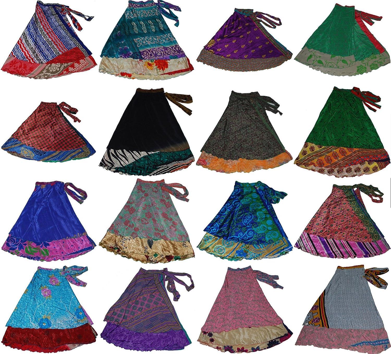 Wevez - falda larga para mujer estilo sari indio color Surtido tamaño Talla única ST-151136