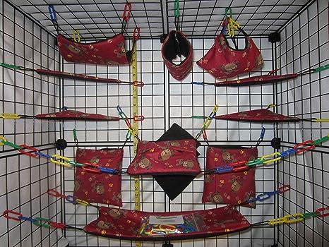 17 Piece Sugar Glider Cage Set Red Dog Pattern