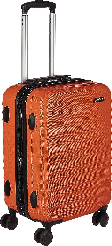 AmazonBasics - Maleta de viaje rígida giratori- 55 cm, Tamaño de cabina, Naranja fuerte