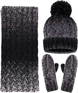 5cd8e5cccc2 Women s Winter Warm 3PC Black Cable Knit Gloves Scarf Beanie Hat Set ...