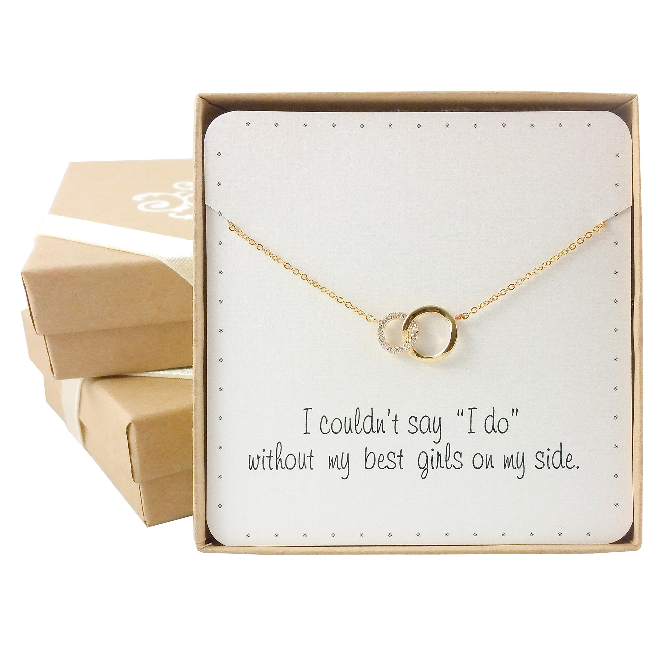 Bridesmaid Gifts- Delicate Infinity Interlocking Circles Necklace (16'', 24K Gold Plated, Pave CZ), Set of 7