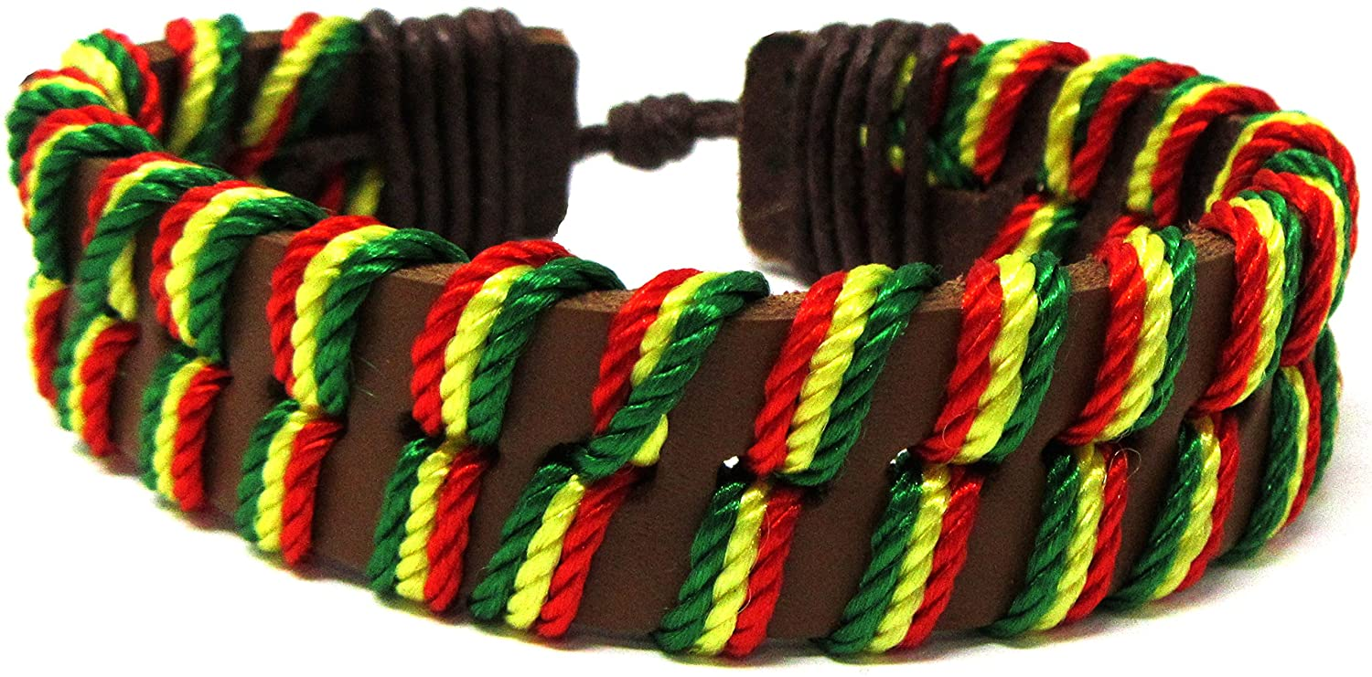 Exotic & Trendy Jewelry, Books and More Rasta Bracelet - Handcrafted Bracelet - Rasta Style - Jamaican Bracelet Rasta Leather Bracelet Peace Bracelet - Black Leather Bracelet - Bracelet