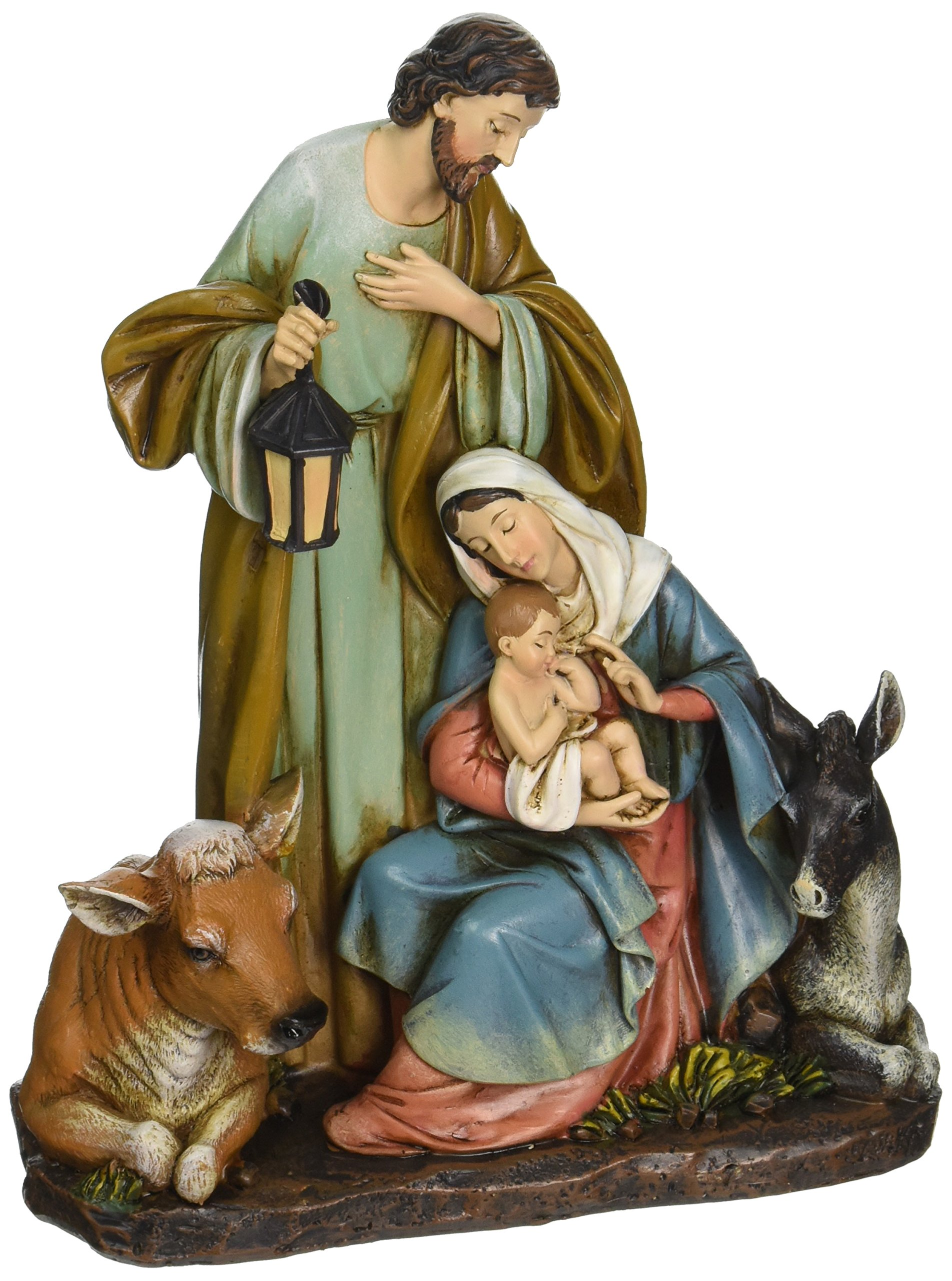 Roman Josephs Studio Slim Profile Holy Family with Barn Animals Figurine, 7.5-Inch