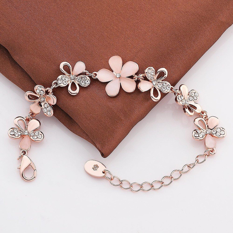 Shining Diva Fashion Jewellery Rose Gold Crystal Charm Bracelet ...
