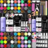 Morovan Acrylic Nail Kit Liquid Monomer - Glitter Powder and Carving Powder Set, Complete Practice Hand Acrylic Nails with Ev