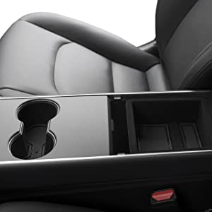 Custom Fit Cup and Center Console Liner Acessories for Tesla Model 3 2017 2018 2019 7-pc Set (Solid Black)