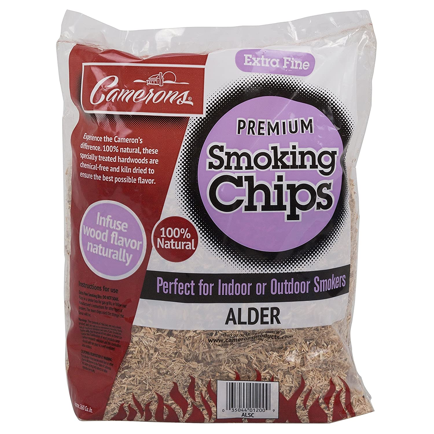 Camerons Products Smoking Chips - (Oak) Kiln Dried, 100% Natural Extra Fine Wood Smoker Sawdust Shavings - 2lb Barbecue Chips OKSC