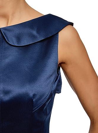 oodji Ultra Mujer Vestido Ajustado con Escote en V en la Espalda
