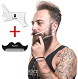 BeardMaster Transparent Beard Shaping Tool Template: 6-In-1 Cheek, Neck, Jaw, Mustache, Goatee, and Sideburn Shaper Plus Guide and Free Mustache Comb