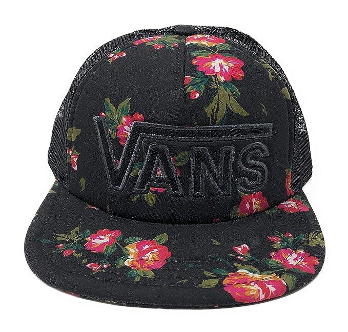 Vans Women s Drop V Trucker Snapback Hat Black Floral One-Size VN0A32Q1OYQ 10a744c0ce3
