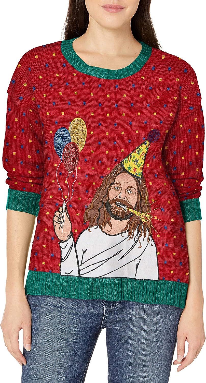 Blizzard Bay Womens Happy Birthday Jesus Ugly Christmas Sweater