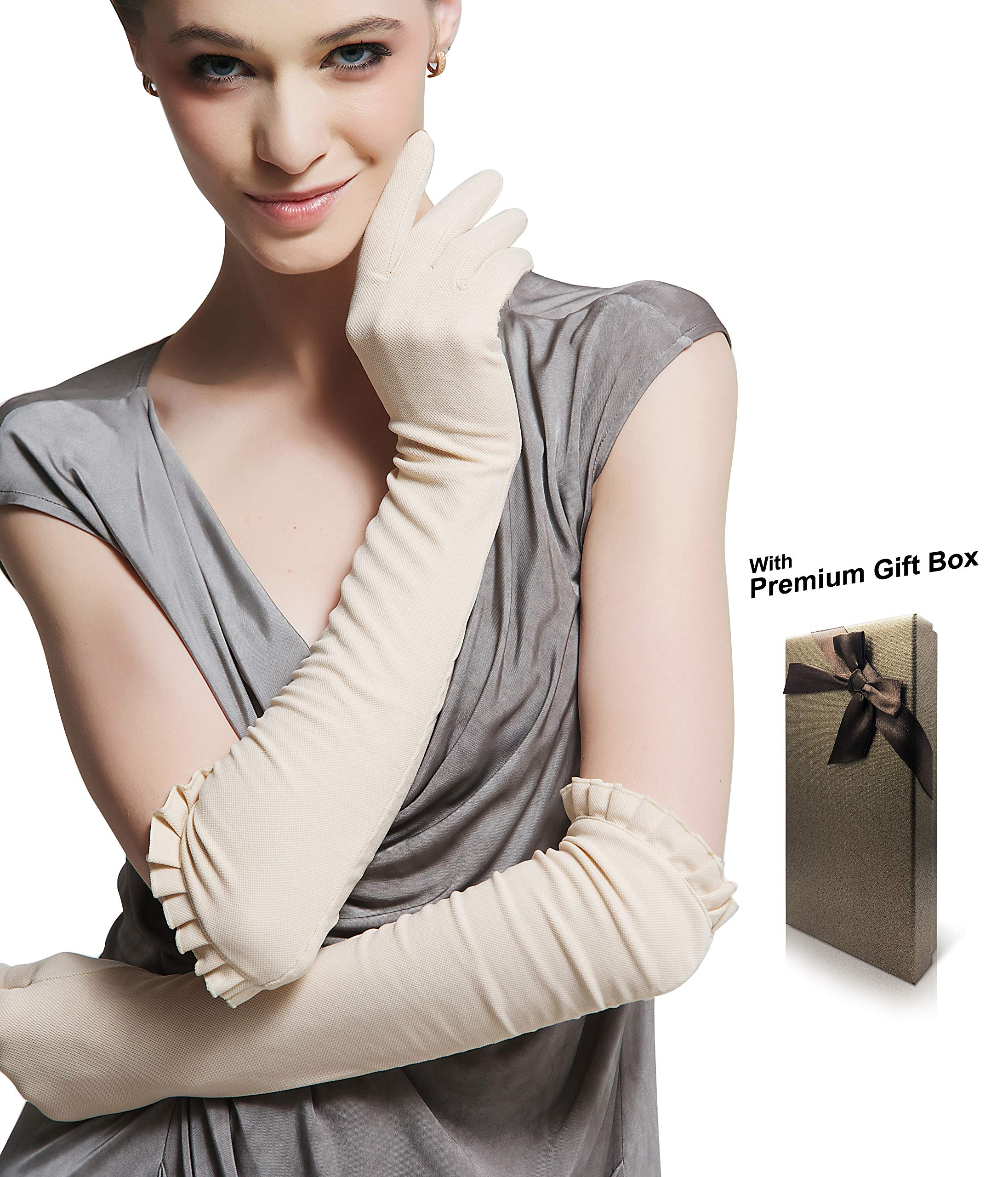 Women's Outdoor Sun Block Soft 18.0'' Elbow Length Long Gloves for Driving/Golf/Party/Outdoor with Gift Box