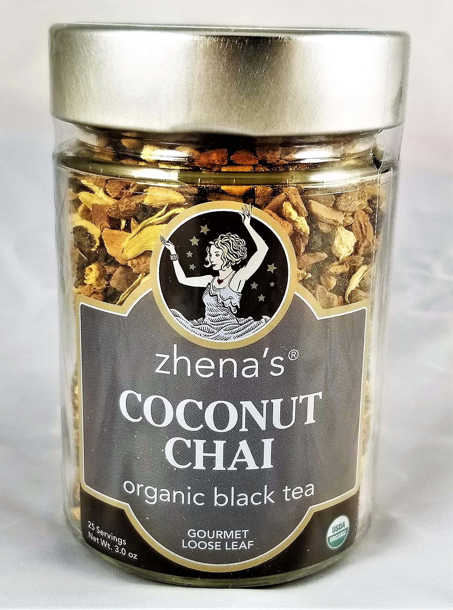 Zhena's Organic Coconut Chai Black Tea, loose leaf, 3 Oz. - Case of 4