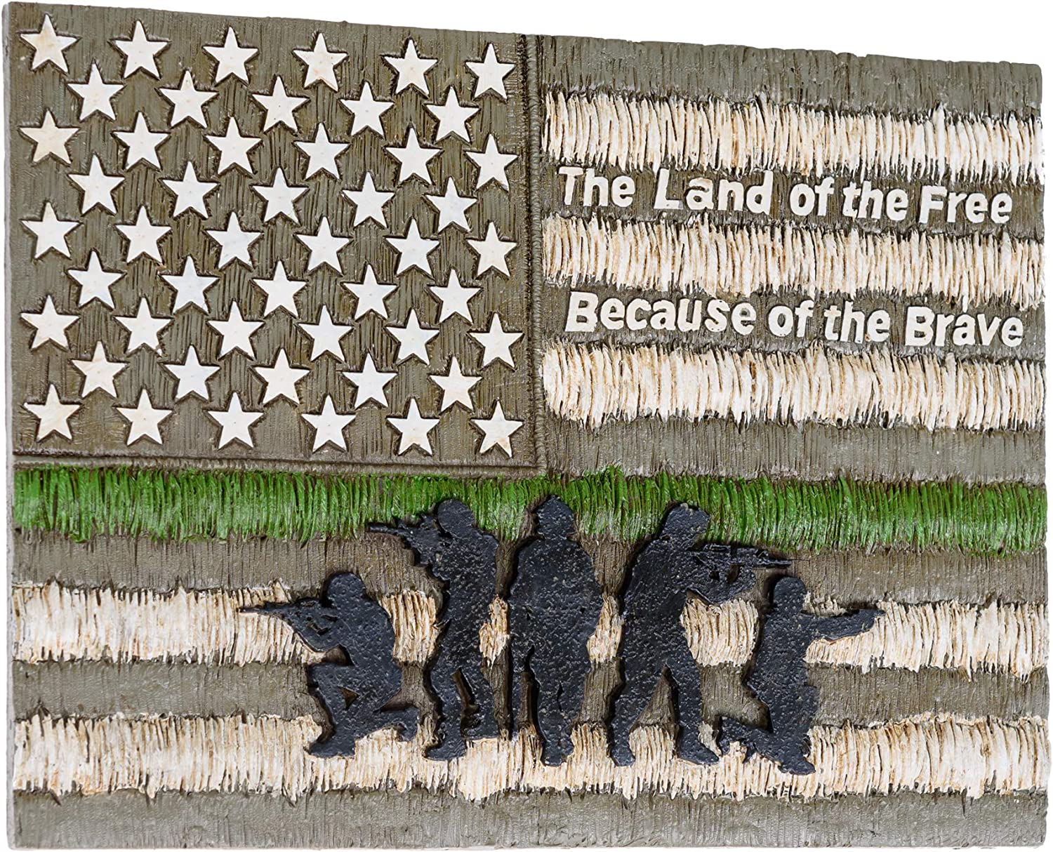 The Land of the Free Because of the Brave America Wall Decor - American Flag Decorations for Home Wall Decorations Military Office Decor Patriotic Decoration for Men - American Wall Art Plaques Decor