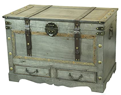 Rustic Gray Large Wooden Storage Trunk Coffee Table With Two Drawers