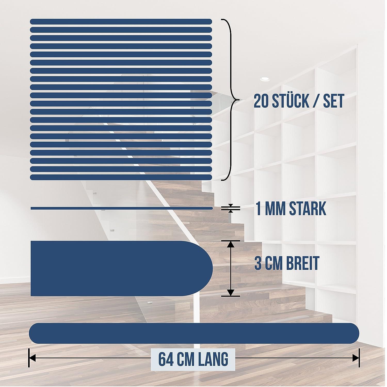 HYGGENDAHL 20x Anti-Rutsch Streifen f/ür Treppen I Selbstklebender Rutschschutz Transparent I Klebestreifen mit Positionier-Schablone