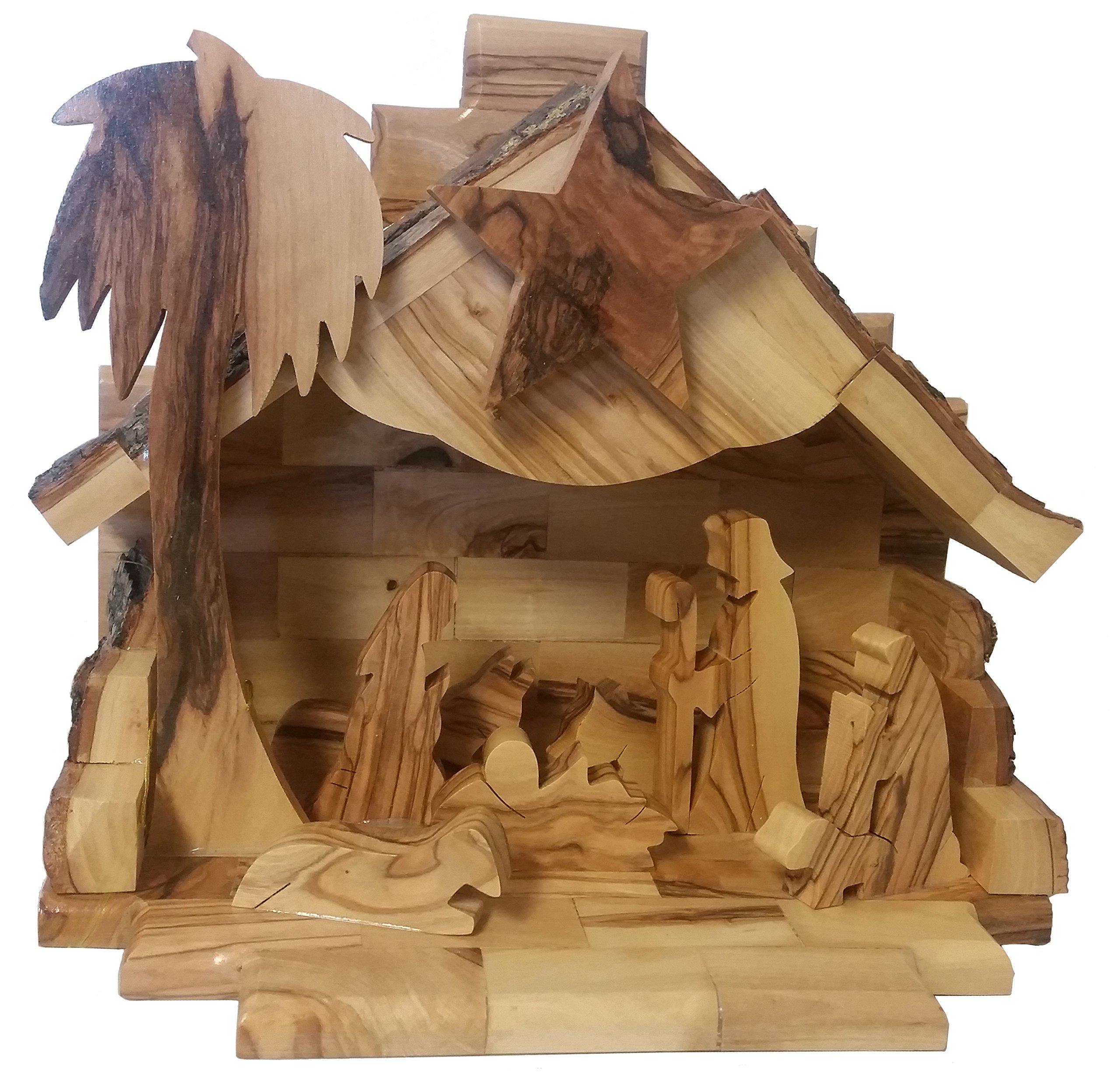 Earthwood Olive Wood Music Box Nativity Scene