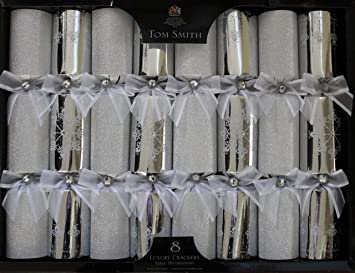 tom smith luxury silver christmas crackers pack of 8 each containing a distinctive