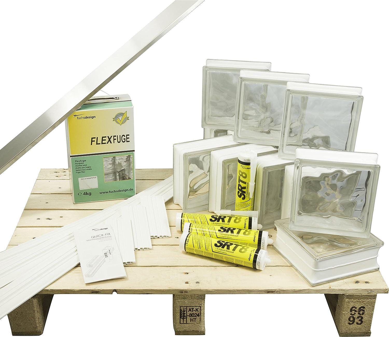 Bloques de vidrio mamparas de ducha JUEGO COMPLETO 78x156 cm ...