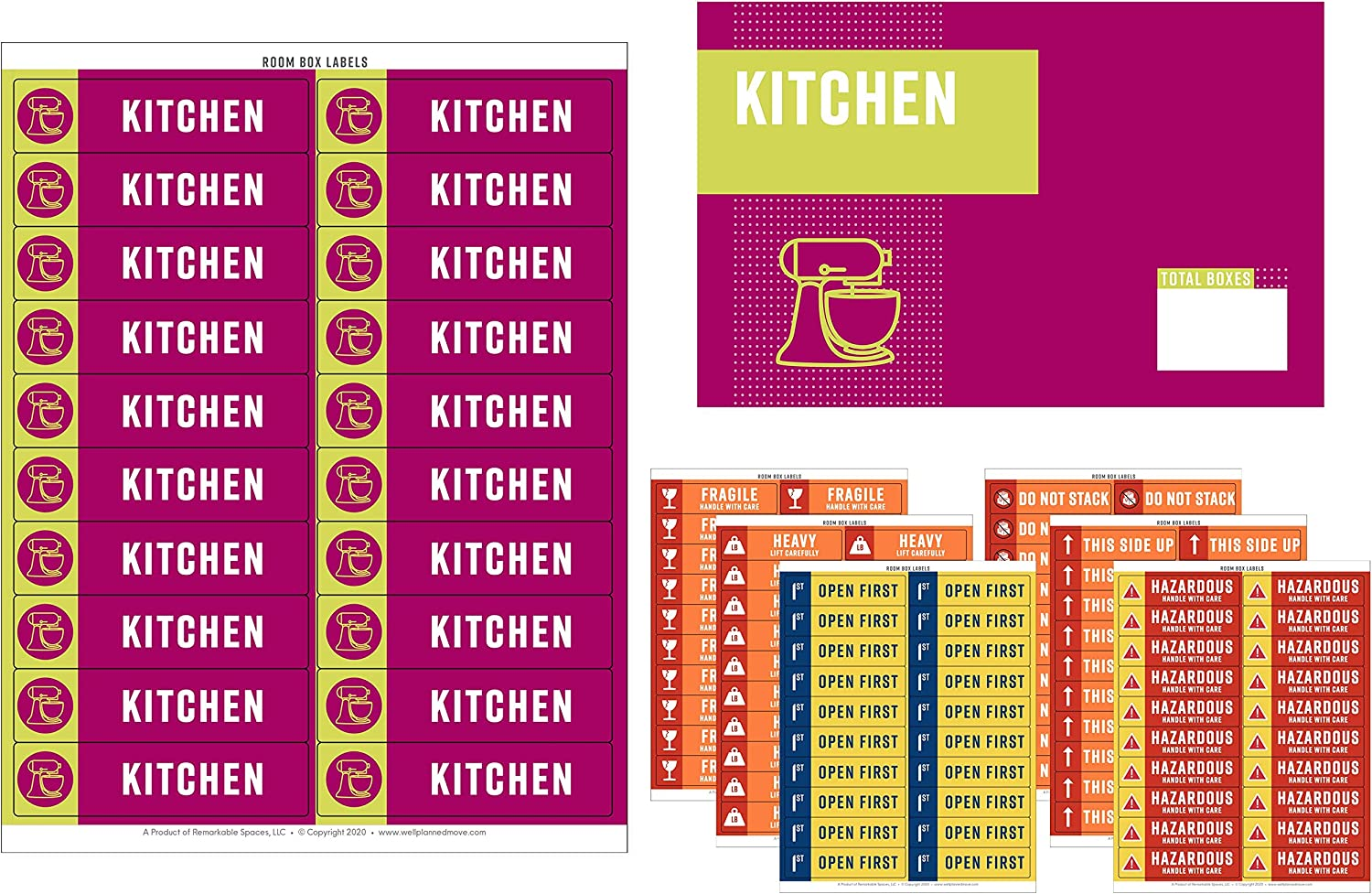 Well Planned Move Color Coded Moving Labels - 600 Labels + Room Signs   Up to 4 Bedrooms + Office + 2 Blank Sets