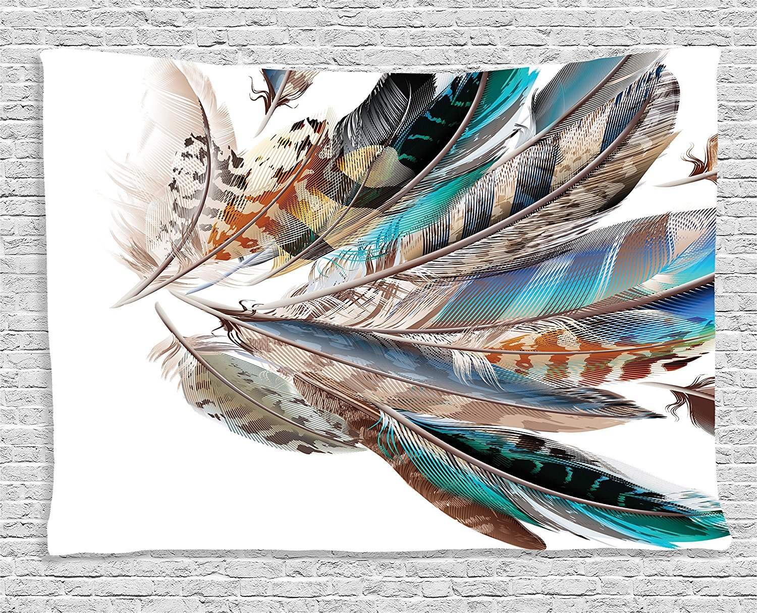 asddcdfdd Feather House Decor Tapestrye, Vaned Types and Natal Contour Flight Feathers Animal Skin Element Print, Wall Hanging for Bedroom Living Room Dorm, 60 W X 40 L Inches, Teal Brown