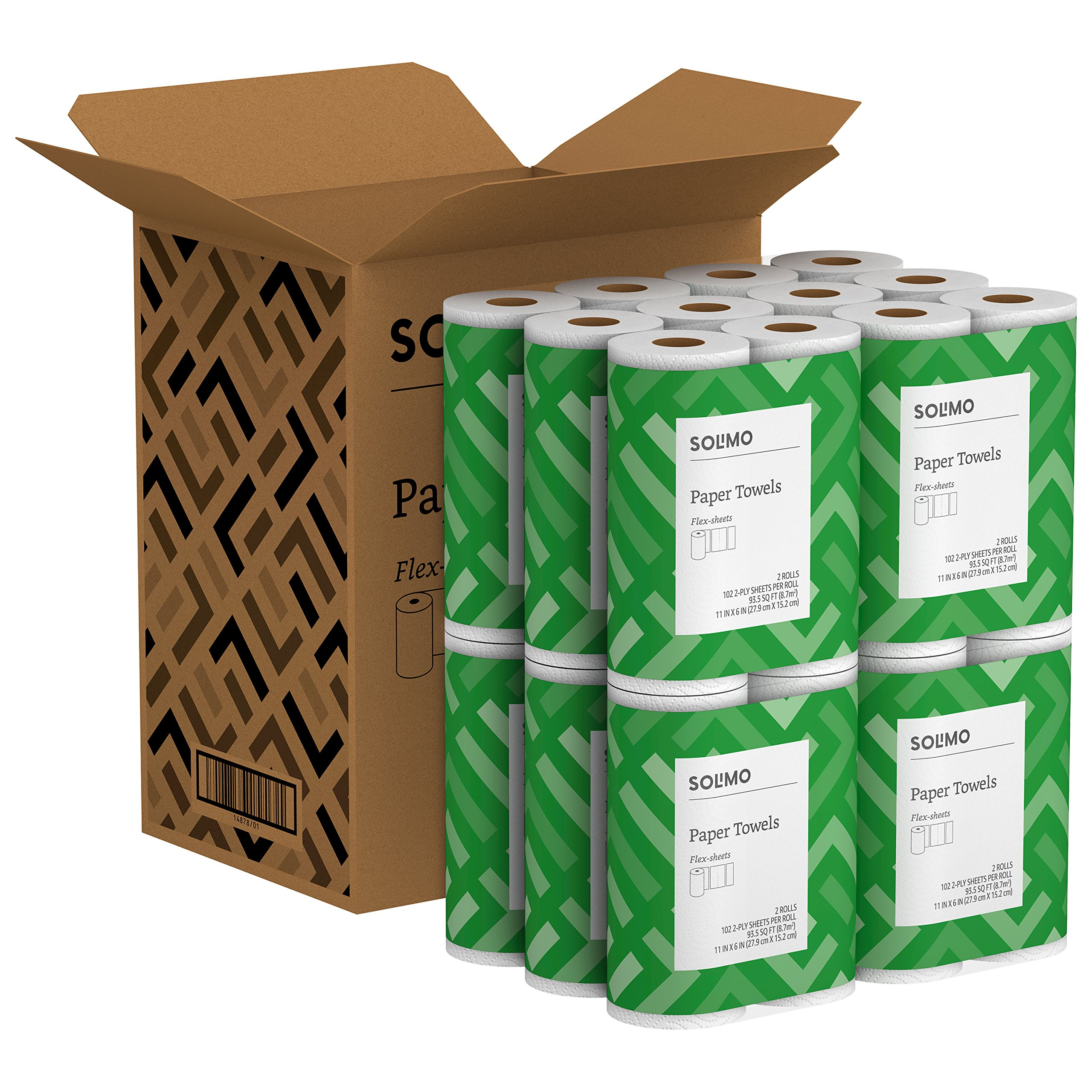 Solimo Basic Flex-Sheets Paper Towels, 24 Value Rolls, White, 102 Sheets per Roll by Solimo (Image #5)