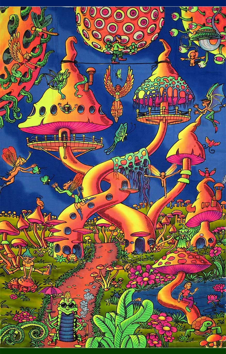 Space Tribe Psychedelic Tapestry Pixie Party – Hand-Painted and Silkscreen Batik Wall-Hanging – UV Active Wall-Hanging -Trippy Wall Art – Black Light Active Trippy Tapestry – Fantasy Tapestry