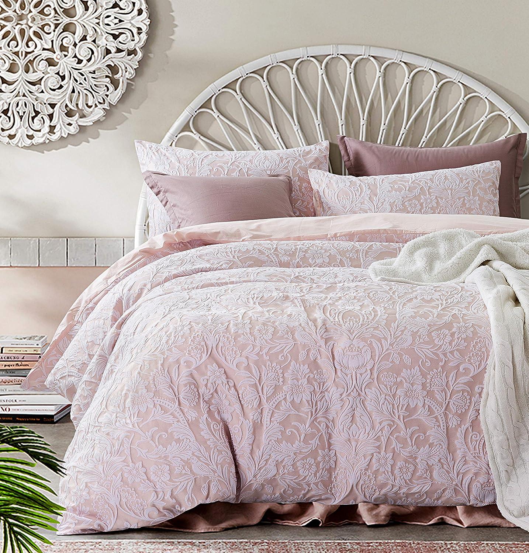 Tahari Home Soft Cotton Textured Jacquard Bedding Modern Cottage Duvet Cover Set Reversible Woven Damask Floral Birds Nature Design (Blush Pink, Queen)