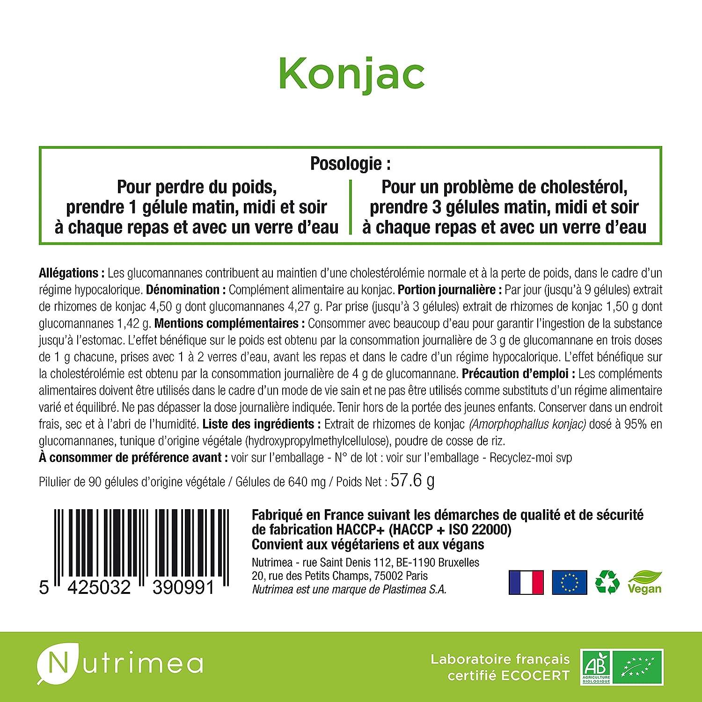 Pur konjac - 500 mg a 95% de glucomannanes/gélule - Puissant Sensor de grasa y de Sucres - Creación Francaise - 90 Cápsulas vegetales: Amazon.es: Salud y ...