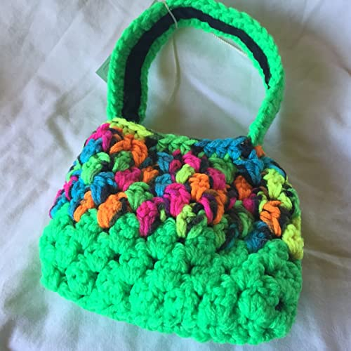 9d2690aa9 Lime Green and Variegated Neon Crocheted Kids 5x6 Cellphone Tote with Black  Lining: Amazon.ca: Handmade