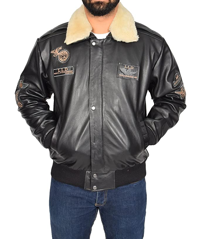 Amazon.com: Mens Black Leather Pilot Jacket Aviator Bomber Top Gun AIR Force Coat Spitfire: Clothing