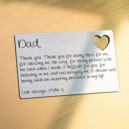 Engravity Gifts Personalised Father's Day Wallet Card Dad Daddy Present Keepsake Gift Idea Design 2: Amazon.co.uk: Kitchen & Home
