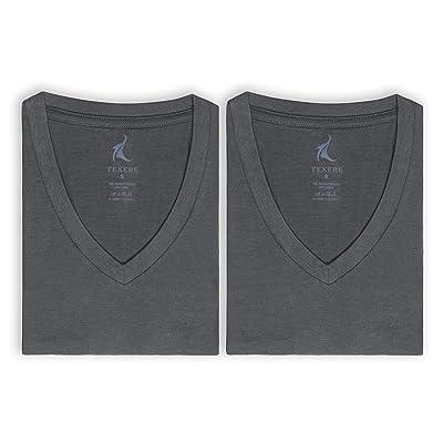 Texere Men's V-Neck 2 Pack Undershirt (Meio, Charcoal, XXLT) Luxury Undershirt: Clothing