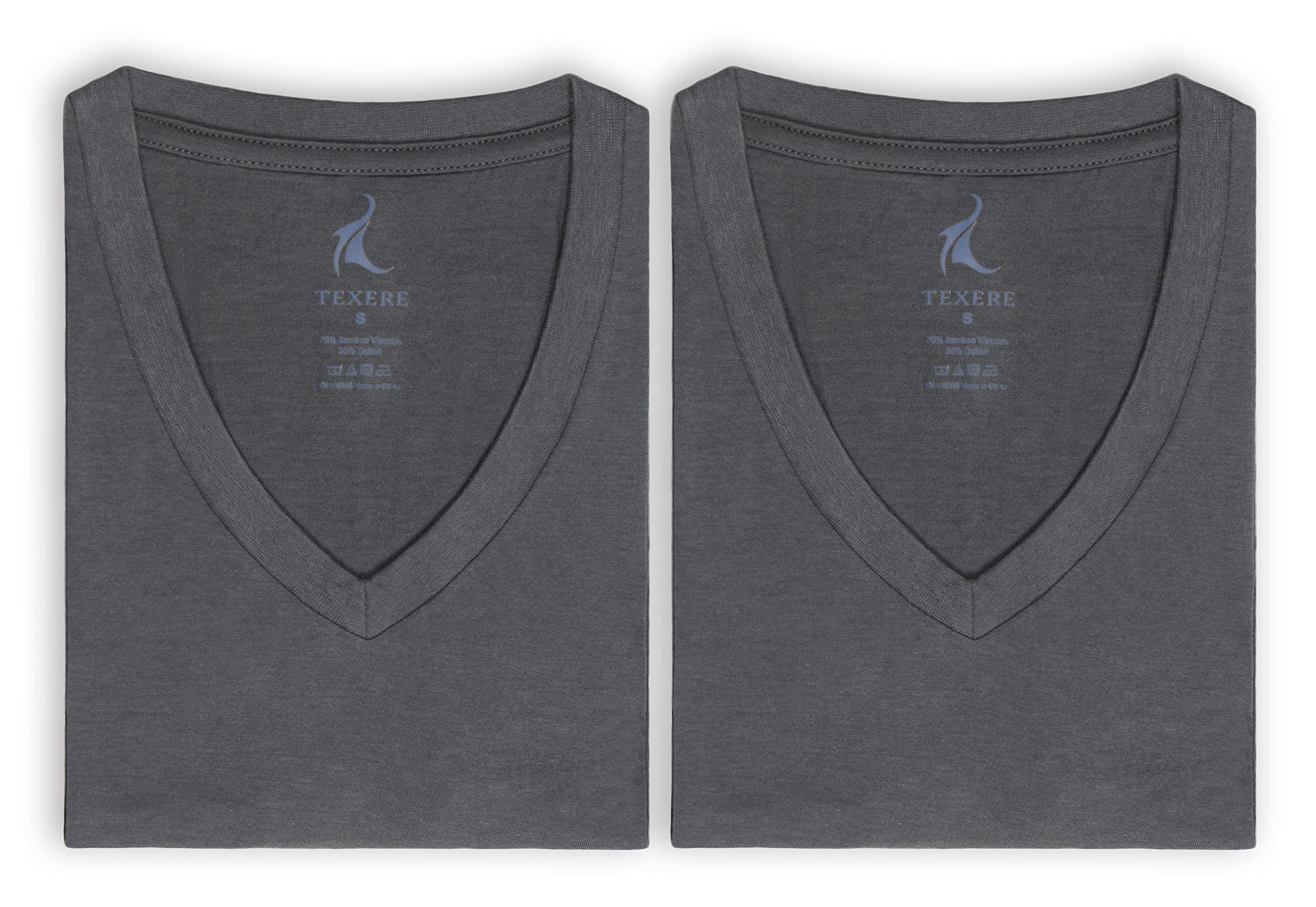 Texere Men's V-Neck 2 Pack Undershirt (Meio, Charcoal, XXLT) Luxury Undershirt by TexereSilk