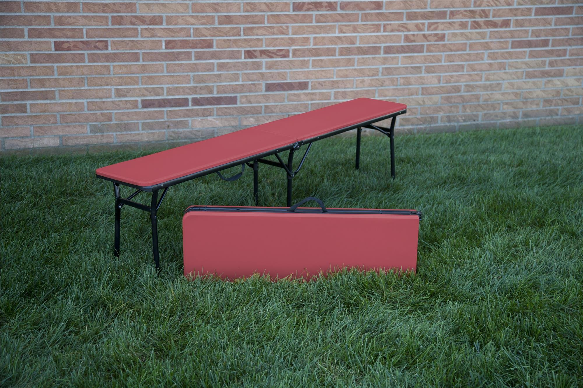 COSCO 6 ft. Indoor Outdoor Center Fold Tailgate Bench with Carrying Handle, Red Bench Top, Black Frame, 2-pack by Cosco Outdoor Living (Image #11)